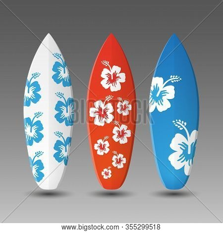 Surfboards Design Template With Colorful Flowery Pattern