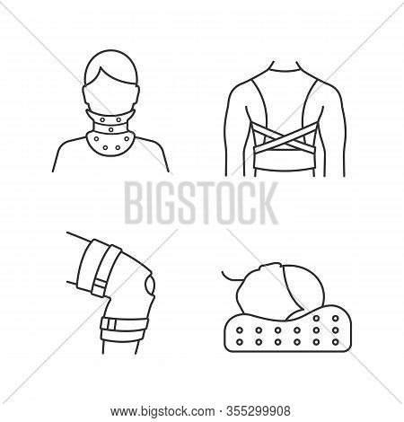 Trauma Treatment Linear Icons Set. Cervical Collar, Posture Corrector, Knee Brace, Orthopedic Pillow