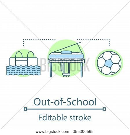 Out-of-school Activities Concept Icon. After School Entertainment Idea Thin Line Illustration. Hobbi
