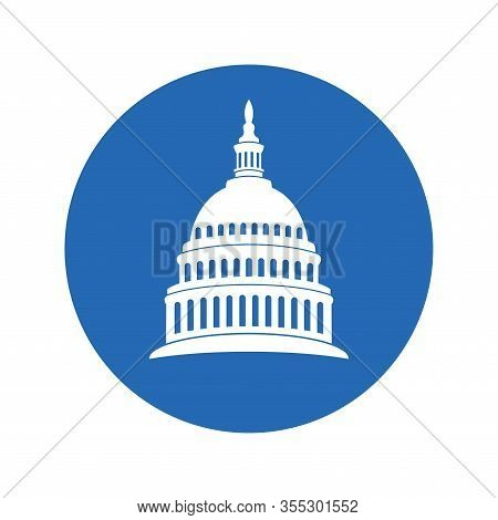 Vector Icon Of United States Capitol Hill Building Washington Dc, American Congress, White Symbol De
