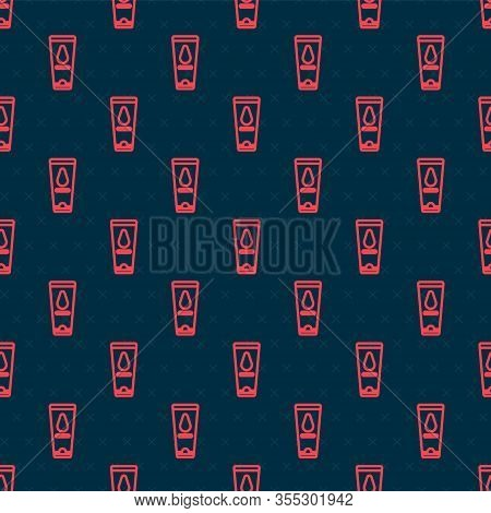 Red Line Personal Lubricant Icon Isolated Seamless Pattern On Black Background. Lubricating Gel. Cre