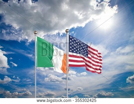United States Of America Vs Ireland. Thick Colored Silky Flags Of America And Ireland. 3d Illustrati