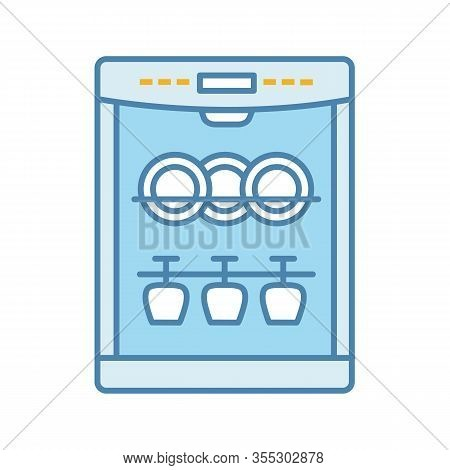 Dishwasher Color Icon. Automatic Dishware And Cutlery Cleaning. Kitchen Appliance. Restaurant, Cafe