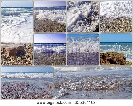 Photo Collage Of Sea Waves And Surf. Can Be Used For The Design Of Covers, Brochures, Flyers And Tex