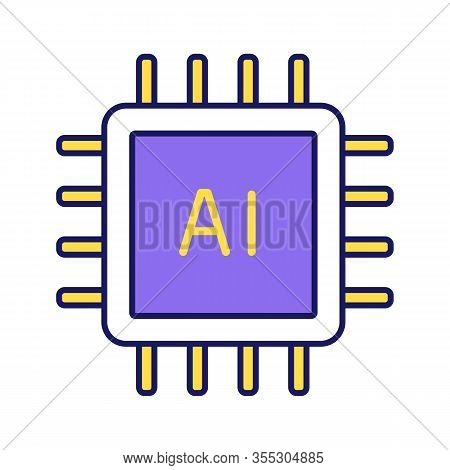Ai Processor Color Icon. Microprocessor For Artificial Intelligence System. Microchip, Chipset. Cpu.