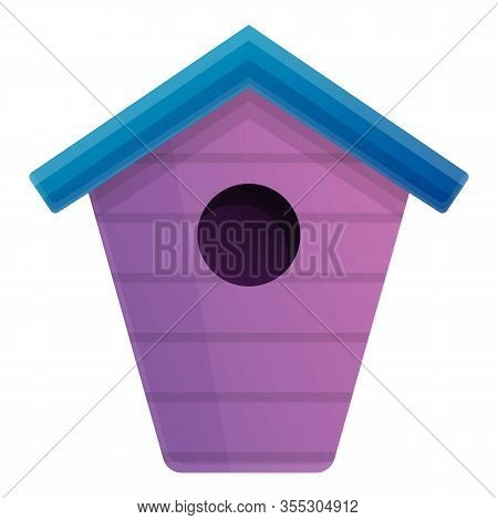 Violet Bird House Icon. Cartoon Of Violet Bird House Vector Icon For Web Design Isolated On White Ba