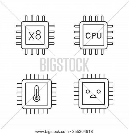 Processors Linear Icons Set. Octa Core, Cpu Processors, Microprocessor Temperature, Sad Chip. Thin L