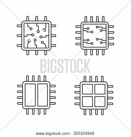 Processors Linear Icons Set. Chip, Microprocessor, Integrated Unit, Dual And Quad Core Processors. T