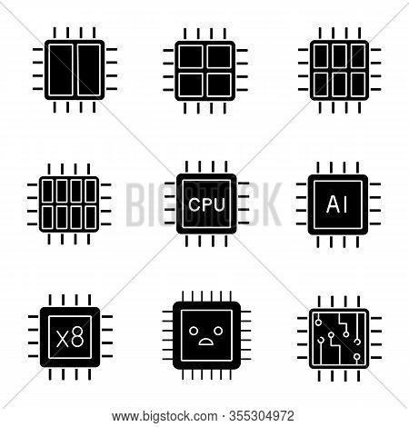 Processors Glyph Icons Set. Dual, Octa, Quad, Six Core Chips, Cpu, Sad Processor, Integrated Circuit