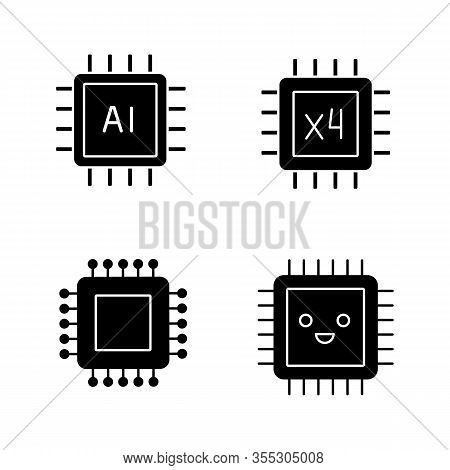 Processors Glyph Icons Set. Chip, Integrated Circuit For Ai System, Smiling Microprocessor, Quad Cor