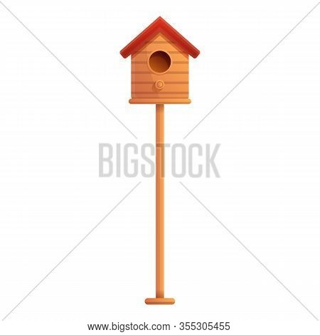 Bird House On Pillar Icon. Cartoon Of Bird House On Pillar Vector Icon For Web Design Isolated On Wh