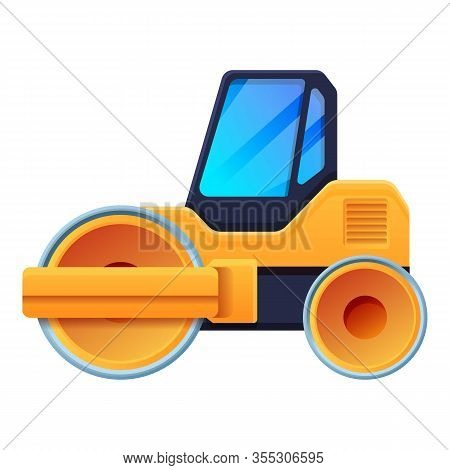 Road Roller Icon. Cartoon Of Road Roller Vector Icon For Web Design Isolated On White Background