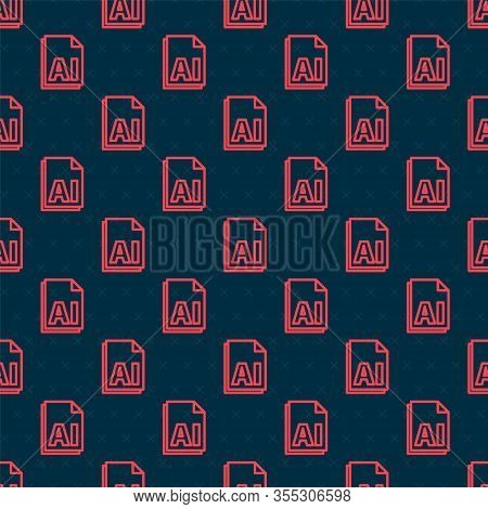 Red Line Ai File Document. Download Ai Button Icon Isolated Seamless Pattern On Black Background. Ai