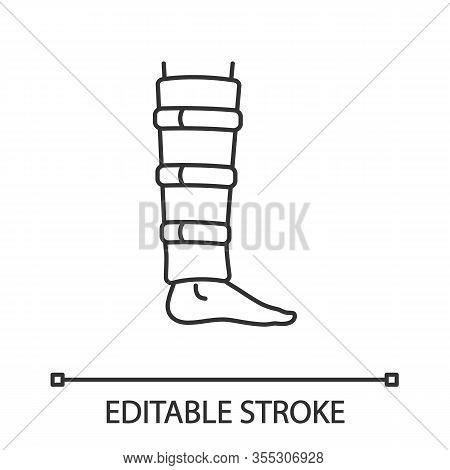 Shin Brace Linear Icon. Shin Support. Adjustable Calf Brace. Thin Line Illustration. Lower Leg Compr
