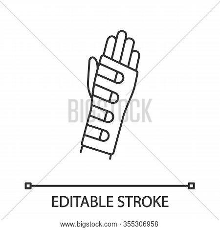 Wrist Brace Linear Icon. Hand Orthosis. Thin Line Illustration. Radiocarpal Joint Bandage. Wrist Sup