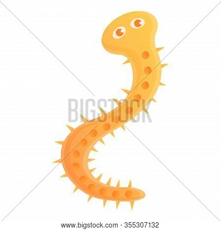 Human Parasite Worm Icon. Cartoon Of Human Parasite Worm Vector Icon For Web Design Isolated On Whit
