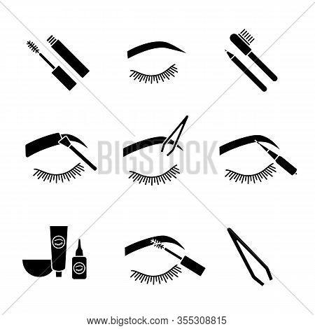 Eyebrows Shaping Glyph Icons Set. Dye Kit, Arched Brows, Tweezer, Microblading, Mascara, Eyebrow Tin