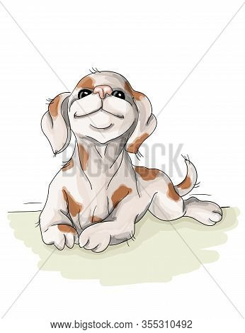 Vector Illustration Spotted Dog Resting, Sommer Vacation Nice