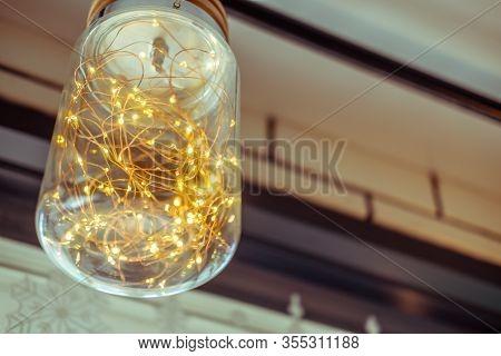 Ceiling Lamp Inside With Orange Blinker Light Bulbs Decoration In Home
