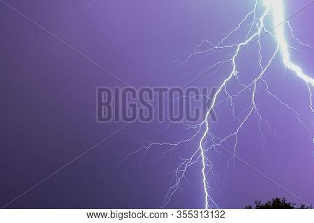 Huge Lightning Over The Sky During A Lightning Storm
