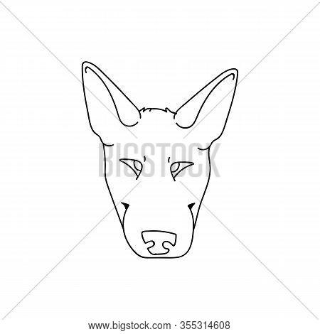 Cute Cartoon Bull Terrier Dog Monochrome Lineart Face Vector Clipart. Pedigree Kennel Show Dog For D