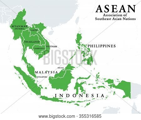 Asean Member States, Infographic And Map. Association Of Southeast Asian Nations, A Regional Intergo