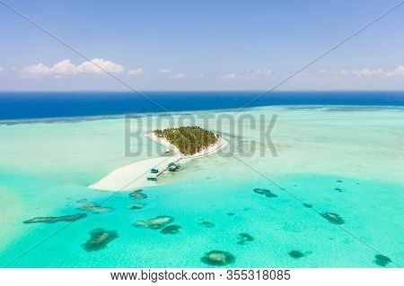 Tropical Island Surrounded By Beautiful Lagoons. Onok Island Balabac, Philippines. Rest On A Tropica
