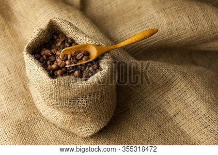 Burlap Hessian Sack Of Roasted Coffee Beans