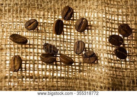 Fresh Coffee Bean Is On The Burlap Sack Background.