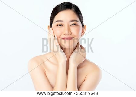 Beautiful Young Asian Woman With Clean Fresh Skin. Face Care, Facial Treatment, Cosmetology, Beauty