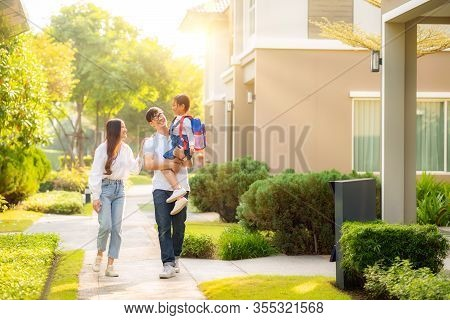 Asian Family Go To School Together, This Image Can Use For Education, Father, Mother, Daughter, Stud
