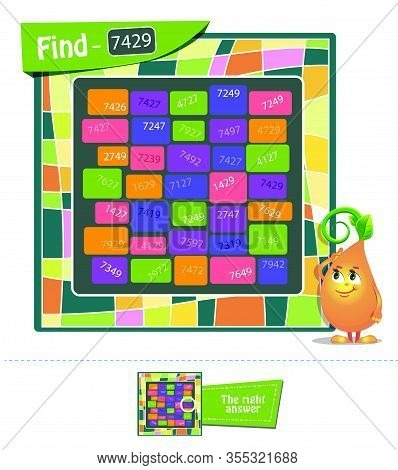 Game Find The Numbers Spatial Thinking