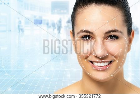 Close Up Portrait Of Attractive Caucasian Woman With Facial Recognition Technology. Grid With Refere