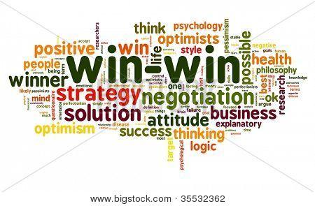 Conceito de solução de negociação ganha-ganha na nuvem de Tags palavra sobre fundo branco