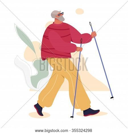 Nordic Walking Senior Man In Sport Suit Doing Outdoor Exercises. Healthy Active Life Vector Concept.