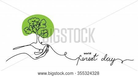 World Forest Day Vector Sketch, Background. Green Tree In Hand Concept. One Continuous Line Drawing