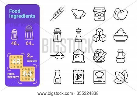 Food Ingredients And Tableware Line Icons Set Vector Illustration. Collection Consists Of Sugar, Egg