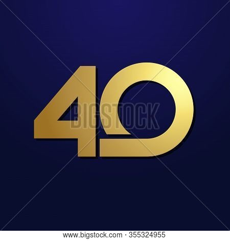 40 Th Anniversary Numbers. 40 Years Old Logotype. Luxury Golden Congrats. Isolated Abstract Graphic