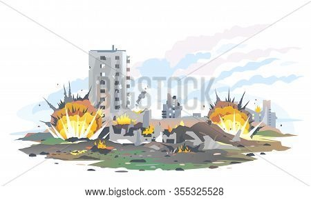 Big Bomb Explosions With Shrapnel And Fireball In City Near The Building, Destroyed Buildings Ruins