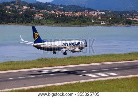 Corfu, Greece - June 5, 2016: Ryanair Boeing 737-800 Arrives At Corfu International Airport, Greece.