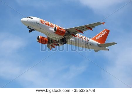 Corfu, Greece - June 5, 2016: Easyjet Airbus A319 Takes Off From Corfu International Airport, Greece