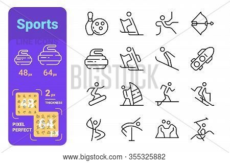Sports Activity Line Icons Set Vector Illustration. Collection Consist Of Bodybuilding, Jugging, Swi