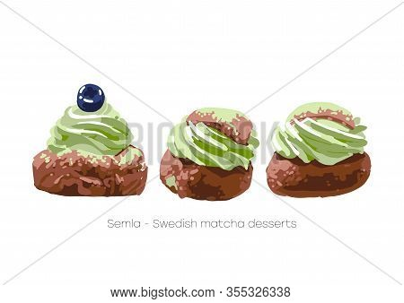 Semla. Traditional Swedish Desserts With Whipped Matcha Cream.