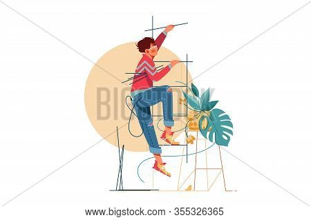 Young Handsome Man Climbs Upstairs For Repair Work. Isolated Concept Male Character With Modern Styl