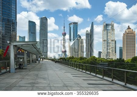 Cityscape Of Shanghai City In Day Time With Road And Tower, Shanghai City, China