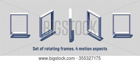 Isometric Rectangular Frame Rotating. Motion Sprites For Game Or Information Sign
