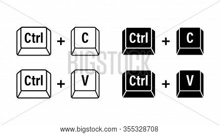Ctrl C And Ctrl V Computer Keyboard Buttons. Desktop Interface. Web Icon. Vector Stock Illustration.