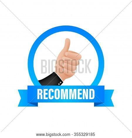 Recommend Icon. White Label Recommended On Blue Background. Vector Stock Illustration