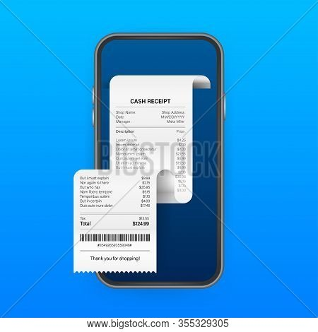 Receipt For Smartphone Screen. Pay Tax Online Receipt Business Card For Mobile App Design. Mobile Ba