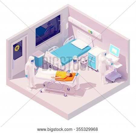 Vector Isometric Man Hospitalization With Coronavirus Disease Or Covid-19. Doctor In Protective Mask